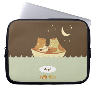 Owl and Pussycat Personalized Computer Sleeves