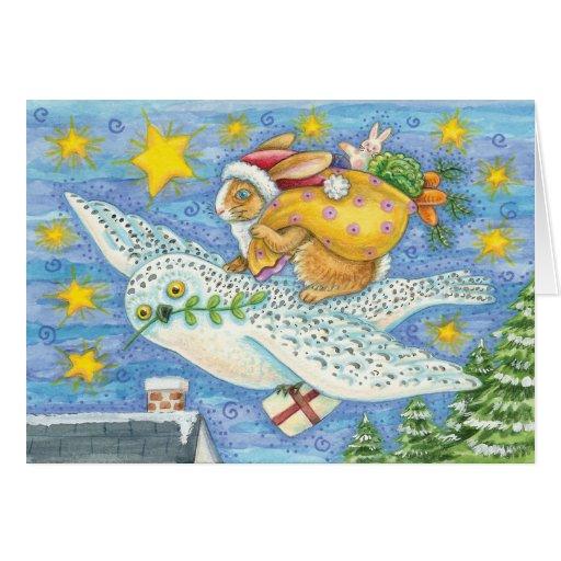 Owl And Rabbit Christmas Card - holiday Card