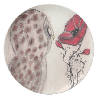 Owl and Red Poppy - Plate