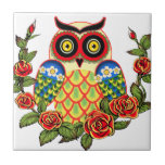 Owl and Roses Mexican style Tile