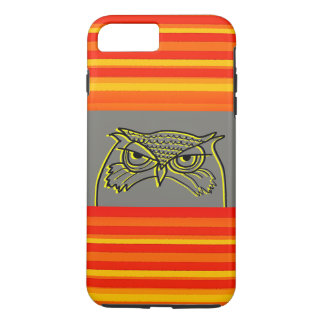 Owl Angry Artistic Sketch Orange Neon Stripes Cool iPhone 8 Plus/7 Plus Case