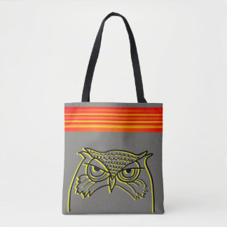 Owl Angry Artistic Sketch Orange Neon Stripes Cool Tote Bag