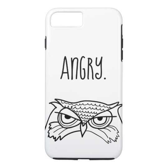 Owl Angry Funny Ironic Minimalist Sketch Cool Art iPhone 8 Plus/7 Plus Case