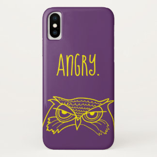 Owl Angry Funny Ironic Minimalist Sketch Cool Art iPhone X Case