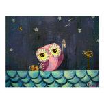 Owl Art - Catch A Falling Star Postcard