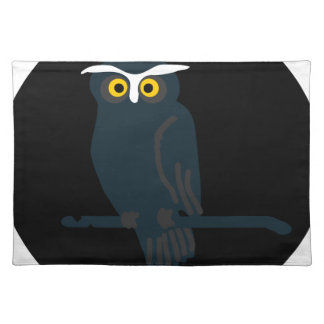 owl art design black fashion placemat