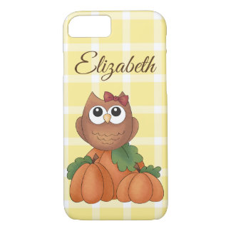 Owl Autumn Fall Harvest Pumpkin Yellow Plaid iPhone 8/7 Case