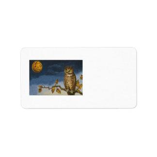 Owl Autumn Leaves Jack O Lantern Pumpkin Personalized Address Labels