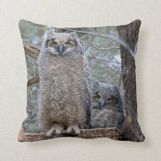 Owl Babies in Basket Wisdom and Willow Throw Pillow