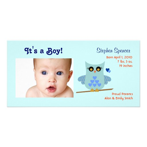 Owl Baby Announcement Photo Cards