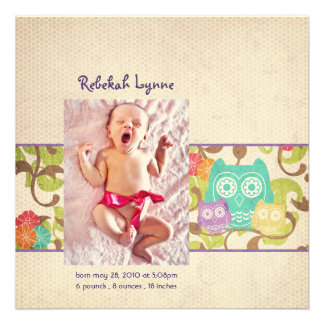 Owl Baby Birth Announcements