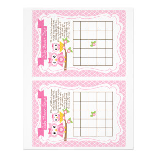 Owl Baby Shower Bingo Game, 2 a page