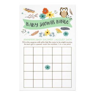 Owl Baby Shower Bingo Game Cards