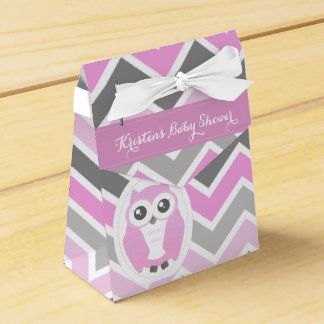 Owl Baby Shower Favor Box Pink Chevron
