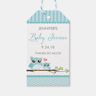 Owl Baby Shower Favor Tag | Blue Chevron Hang Tag Pack Of Gift Tags