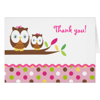 Owl Baby Shower Folded Thank You Note card
