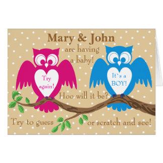 Owl baby shower gender reveal greeting cards