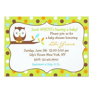 Owl Baby Shower Invitation - Boy