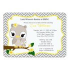 Owl Baby Shower invitation Chevron Grey Yellow 160