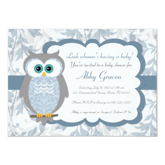 Owl Baby Shower Invitations, Blue, Gray - 830 Card