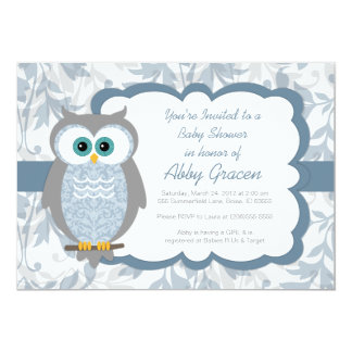 Owl Baby Shower Invitations for Boys, Blue - 830