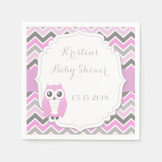 Owl Baby Shower Pink Chevron Paper Napkins