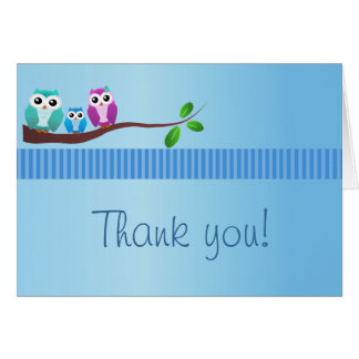 Owl Baby Shower Thank You Note Blue Greeting Card