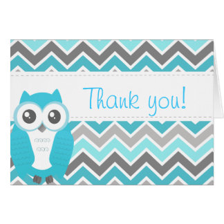 Owl Baby Shower Thank You Note Blue Chevron Greeting Card