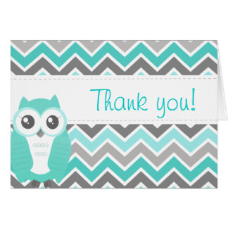 Owl Baby Shower Thank You Note Green Chevron Cards