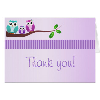 Owl Baby Shower Thank You Note Lilac Greeting Card