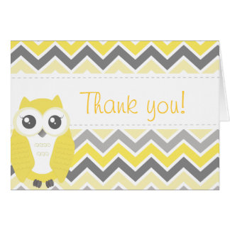 Owl Baby Shower Thank You Note Yellow Chevron Card
