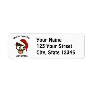 Owl be home for Christmas! Return Address Label