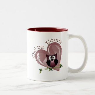 Owl be Yours, Valentine Red Owl and Heart Two-Tone Coffee Mug