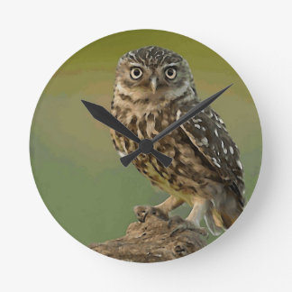 Owl Bird Eyes Tree Round Clock