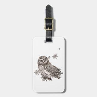 Owl Bird Winter Snowflakes Nature Art Luggage Tag