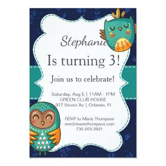 Owl birthday invitation girl invites I go cute kid