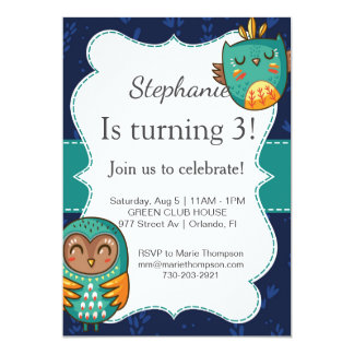 Owl birthday invitation girl invitez je vais cute