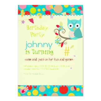 Owl, birthday party invitations/diy background card