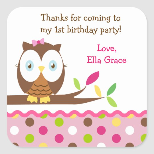 Owl Birthday Party Thank you Favour Stickers