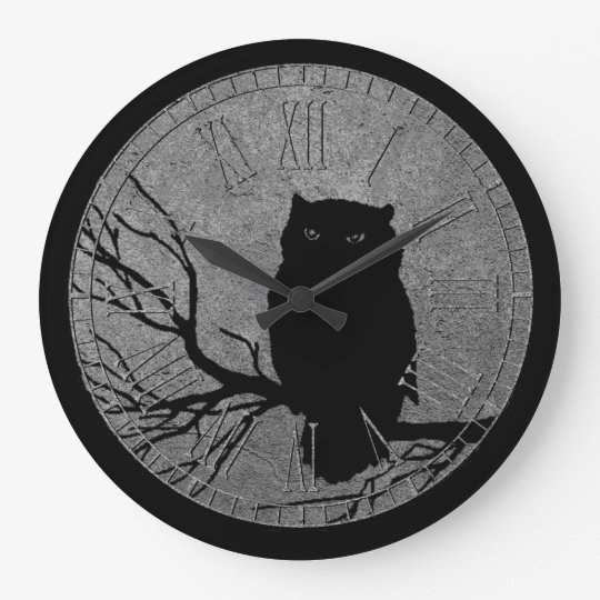 Owl Black and Silver Clock