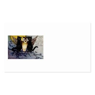 Owl Black Cat Full Moon Tree Night Business Card Templates