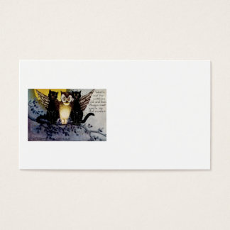 Owl Black Cat Full Moon Tree Night Business Card