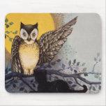 Owl Black Cat Full Moon Tree Night Mouse Pad