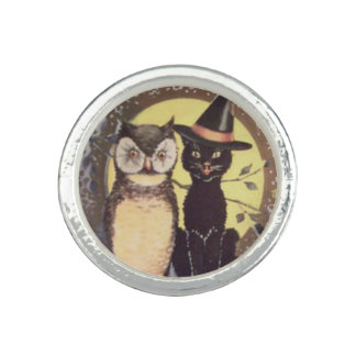 Owl Black Cat Full Moon Tree Night Photo Rings