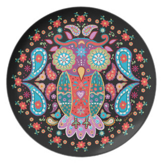 Owl Blooms with Love ~ Melamine Plate