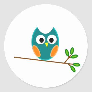 Owl: Blue and Orange Classic Round Sticker