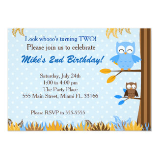 Owl Blue Brown Boy Birthday Party Invitation