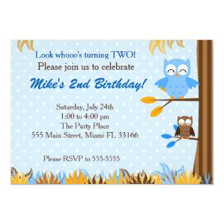 Owl Blue Brown Boy Birthday Party Invitation