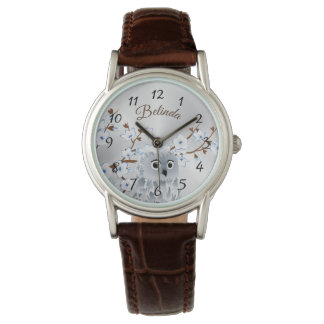 Owl Blue Silver Cherry Blossoms Numbers Monogram Watch