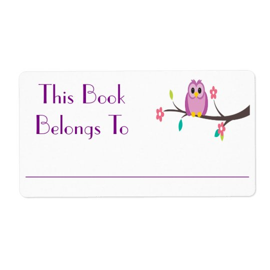 Owl Book Sticker Shipping Label